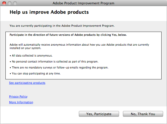 Adobe Product Improvement Program Dialog