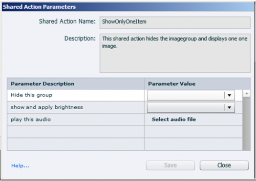 shared actions parameter dialog