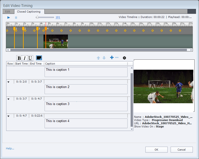 Edit video timing