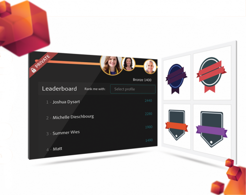 Gamification, Leaderboards and Badges leveraging Mozilla's Open Badge system are all supported in Adobe Captivate Prime