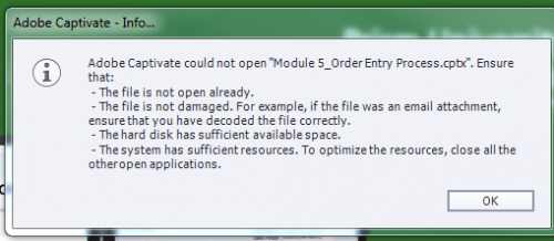 Captivate Can't Open a File? - eLearning
