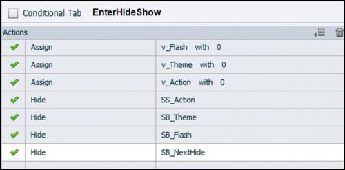 Enter action for Show/Hide
