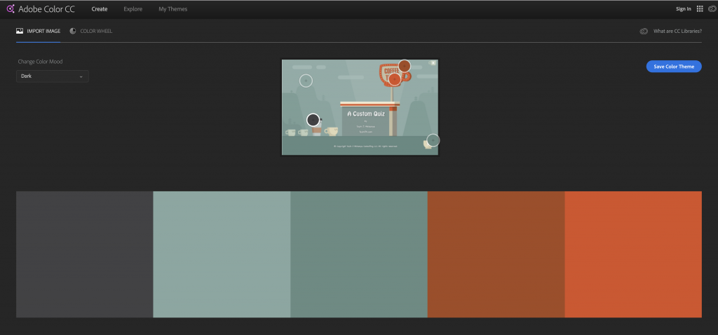 A color palette in Adobe Color CC