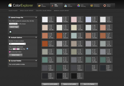 A color palette generated by the Color Explorer tool