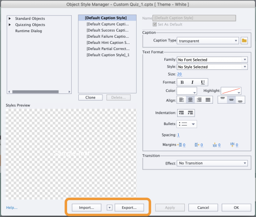 The Object Style Manager with the Export and Import Object Styles options highlighted.