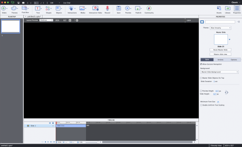 Blank, black screen from Adobe Captivate 2019